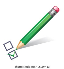 vector illustration of green pencil with checklist