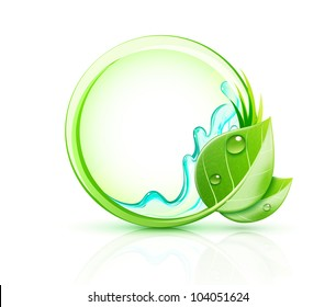 Vector illustration of green plant concept with green leaves and blank round frame
