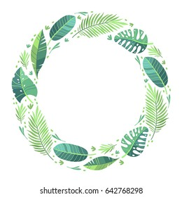 Vector illustration. Green plants, exotic leaves, banana leaf, areca palm, botany, flora. Tropical frame, place for your text. White background isolated. Wedding invitation or card design