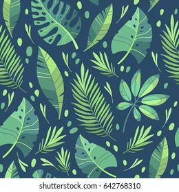 Vector illustration. Green plants, exotic leaves, banana leaf, areca palm, botany, flora. Tropical pattern. Dark background
