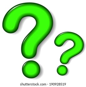 Vector illustration of green question mark on white background