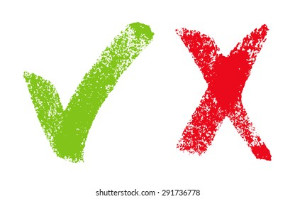 Vector illustration with green and red hand drawn  grungy check mark