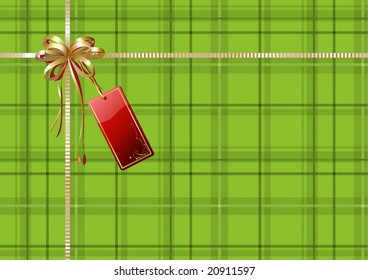 Vector illustration of green Scottish plaid gift wrapping with golden ribbon, bow and red empty tag