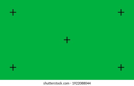 Vector illustration of green screen chroma key background. Blank green background with VFX motion tracking markers.