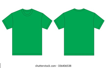 e28936410 Vector illustration of green shirt, isolated front and back design template  for men