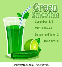 Vector illustration of Green Smoothie recipe with ingredients. Template for restaurant or cafe menu.