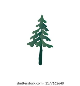 Vector illustration of green spruce from fantasy forest isolated on white background. Botanical decorative element - fir tree for natural and floral design in flat style.