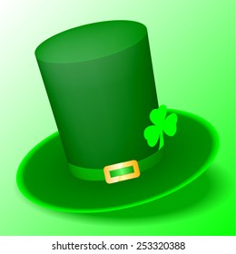 vector illustration of green St. Patrick's Day hat with clover