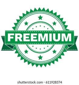Vector Illustration  of GREEN STAMP SIGN FREEMIUM. Stamp. Sign. Sticker. EPS8 .