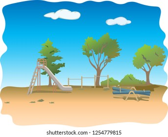 Vector illustration of green summer landscape - Glade in a forest. Nature landscape 3d vector background - A high quality horizontal seamless background of landscape with deep forest. meadow cartoon