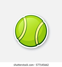 Vector illustration. Green tennis ball. Sports equipment. Cartoon sticker in comics style with contour. Decoration for greeting cards, posters, patches, prints for clothes, emblems