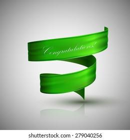 vector illustration of green textile ribbon. decorative element for design. banner