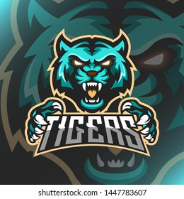 Vector illustration Green Tiger logo mascot