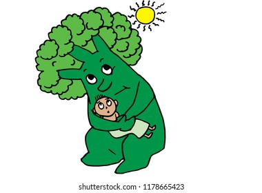 Vector illustration of a green tree with human features protects a child from sun/global warming.