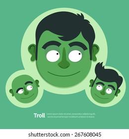 Vector illustration of green Troll. Three cartoon characters. Flat design style.