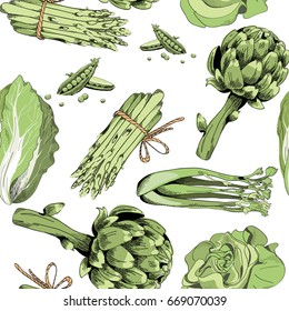 Vector illustration of green vegetables on white background. Seamless pattern