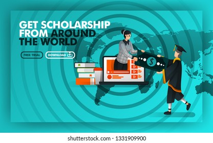 Vector illustration. Green website banner about get scholarship from around the world. Bachelor earn money from women coming out of  laptop against the background of world maps and rada. Flat style