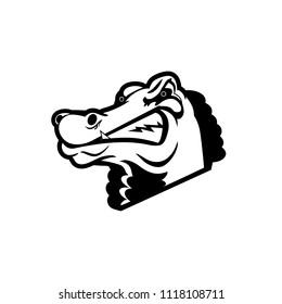 Vector illustration - a green wild crocodile. Africa. Safari. Tourism. Wild nature. Character for sports mascot design.Flat design.monochrome.