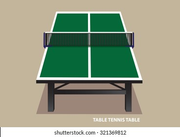 Vector illustration of green wooden table tennis table viewed from one end in high angle shot isolated on plain pale brown background.