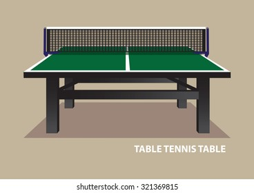 Vector illustration of green wooden table tennis table viewed from one end at eye level isolated on plain beige background.