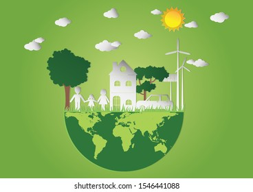 Vector illustration of Green world with model house and model family on green background, We love the world of ideas