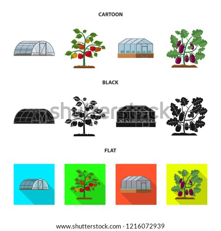 Vector Illustration Greenhouse Plant Icon Collection Stock