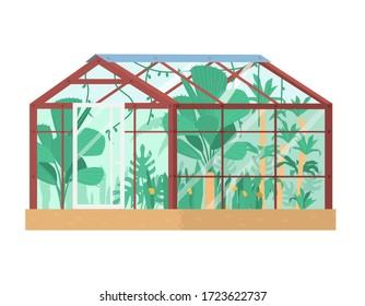 Vector illustration of greenhouse with tropical plants inside. Glass house. Isolated on white. Flat illustration.