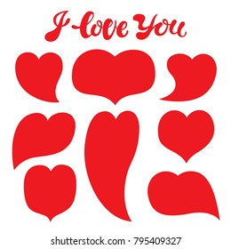 Vector illustration: a greeting card with cartoony hand drawn typography slogan I love you and 8 red different shaped hearts for decoration, prints and posters. Design elements on white background.