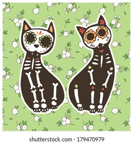 Vector illustration. Greeting card with cats, skeletons and floral background.