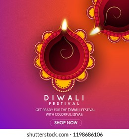 Vector illustration or greeting card of Diwali festival with stylish beautiful oil lamp and Diwali elements,Diwali SALE, Diwali Special offer background.