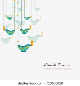 Vector illustration or greeting card of Diwali festival with stylish beautiful oil lamp and Diwali elements.