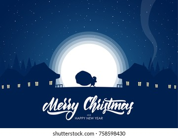 Vector illustration: Greeting card with flat cartoon scene. Silhouette of Santa Claus carries a heavy sack full of gifts in village on moon background.