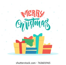 Vector illustration: Greeting card with gift boxes and hand drawn lettering of Merry Christmas
