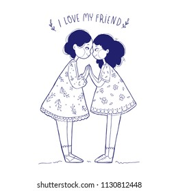 Vector illustration greeting card. Happy friendship day. Two happy hand drawn cute girls sister. Girl Power, Sisterhood