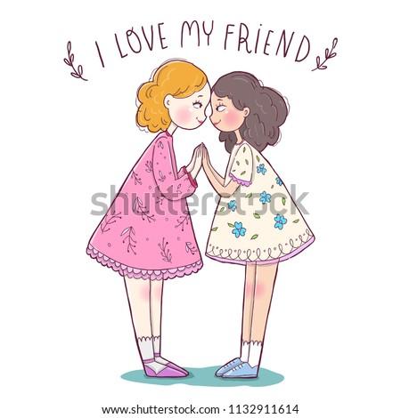 Vector Illustration Greeting Card Happy Friendship Stock Vector