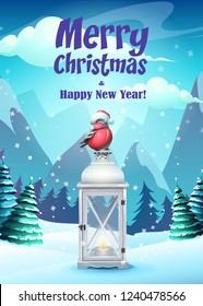 Vector illustration greeting card Merry Christmas. For web, video games, user interface, design.