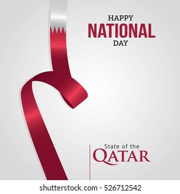 Vector illustration greeting card with Qatar Flag for National Day