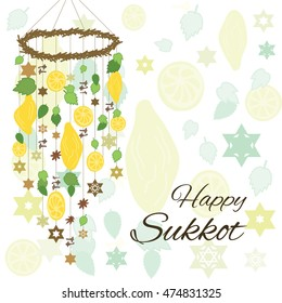 vector illustration of greeting card for Sukkot jewish holiday with hanging decoration from palm leaves spices and etrogs and text greeting in english