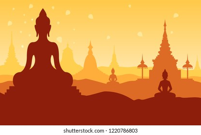 Vector illustration greeting card for Vesak day with  buddha silhouette.