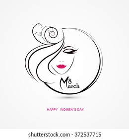 Vector illustration or greeting card for women's day. Happy women day design.