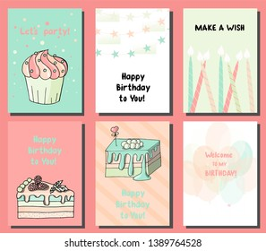 Vector illustration of greeting cards. Happy birthday cards. Bright greetings, set of postcards.