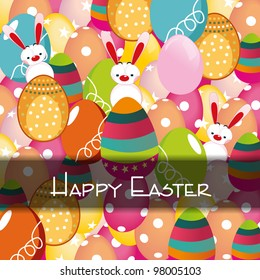 Vector illustration of greeting, gift card or banner with colorful, decorated eggs or bunnies for happy Easter. EPS 10, Easter abstract background.