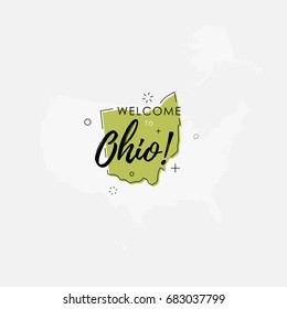 Vector illustration of greeting sign with welcome to Ohio text and state silhouette.