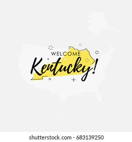 Vector illustration of greeting sign with welcome to Kentucky text and state silhouette.