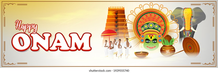 vector illustration of greeting for south Indian festival Onam with kathakali face.
