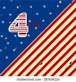 Vector illustration or greetings for 4th of july, independence day of America.