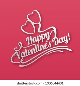 Vector illustration. Greetings card. Handwritten modern brush lettering of Valentine's Day. Typography design.