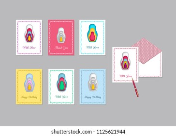 Vector illustration of greetings card Nest doll, isolated on a light background