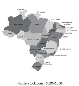 Vector illustration grey map silhouette with Federative Republic of Brazil regions.