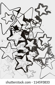 Vector illustration of grey scale hand drawn star pattern.